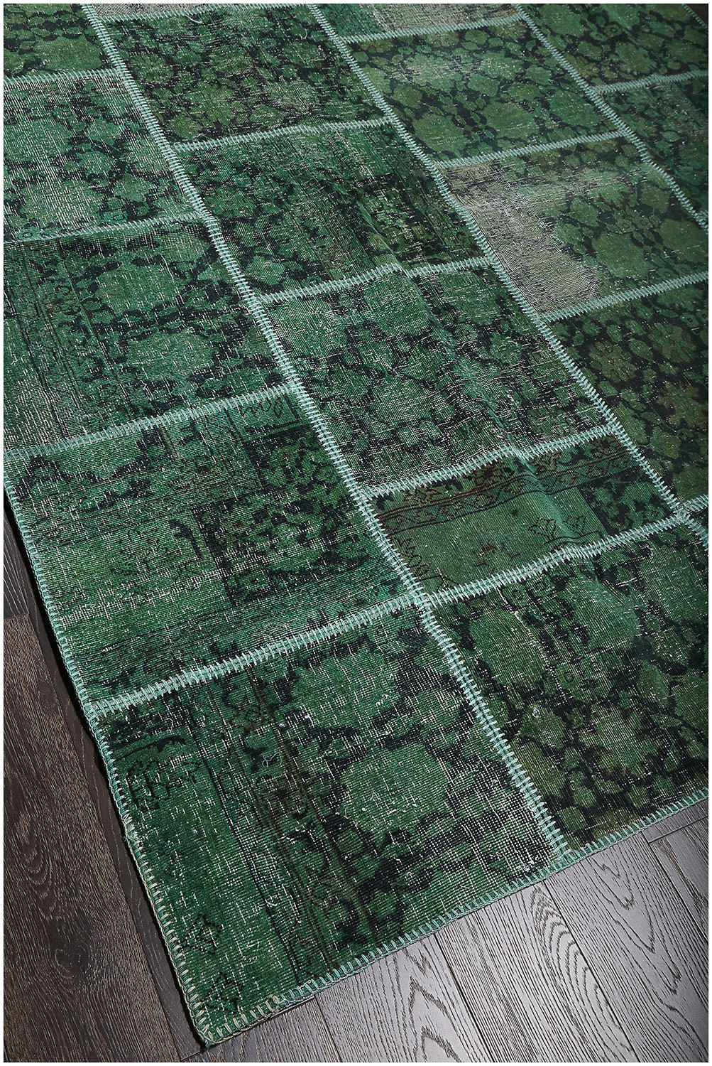 Rugsville Vintage Patchwork Overdyed Green Wool Rug 7 X