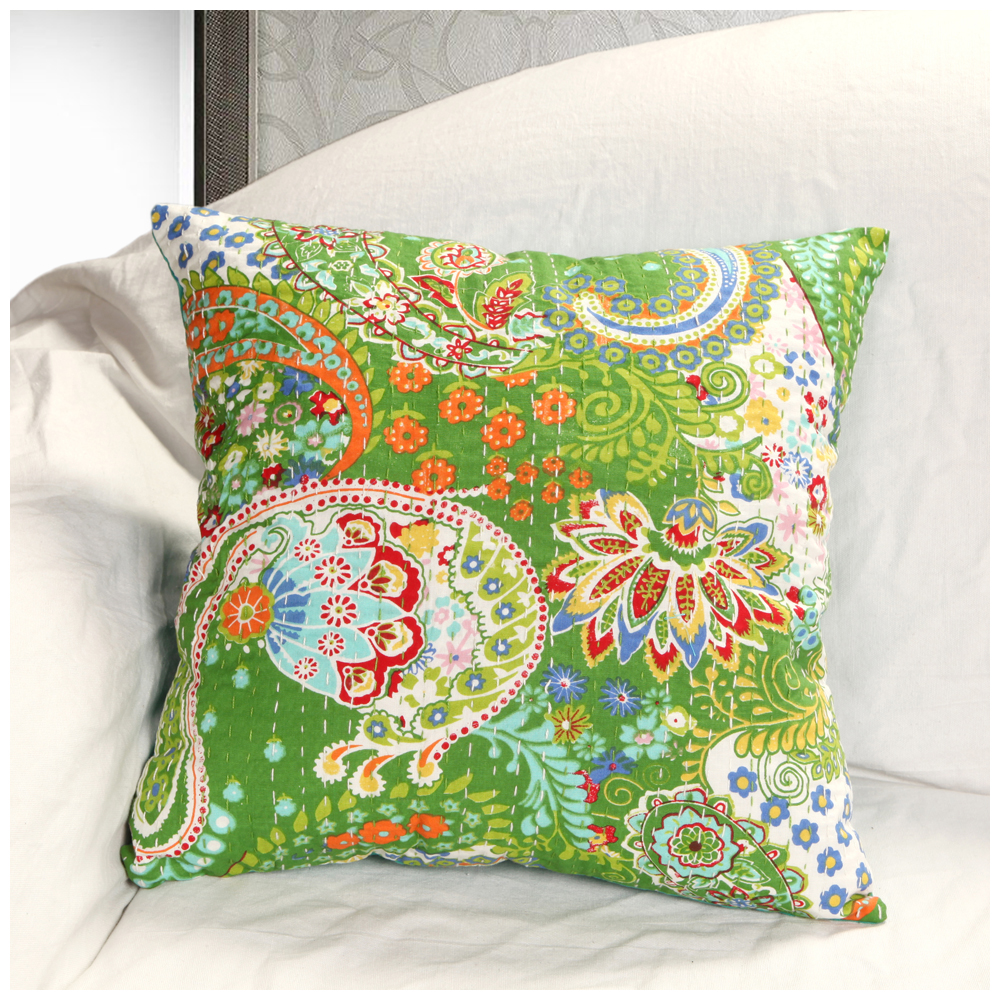 Rugsville Ethnic Kantha Floral Lime Green Cushion Cover 16