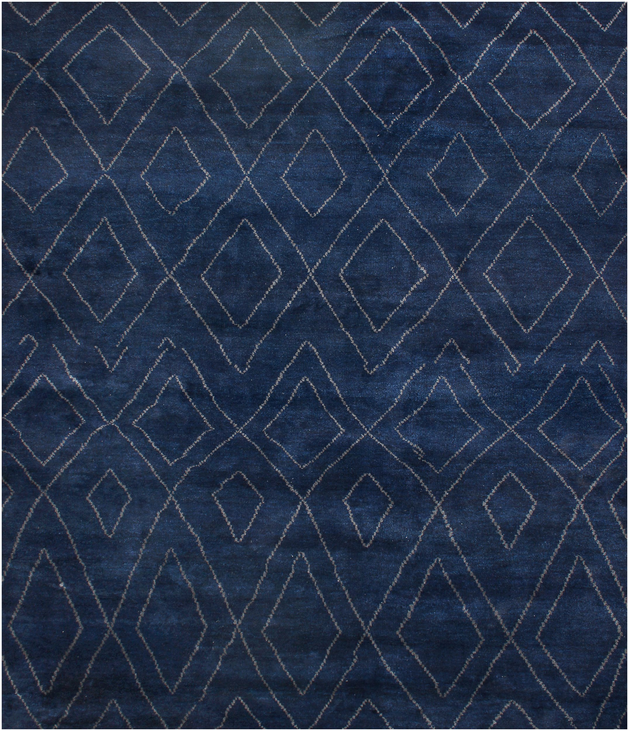 Rugsville Moroccan Beni Ourain Double Diamond Navy Wool