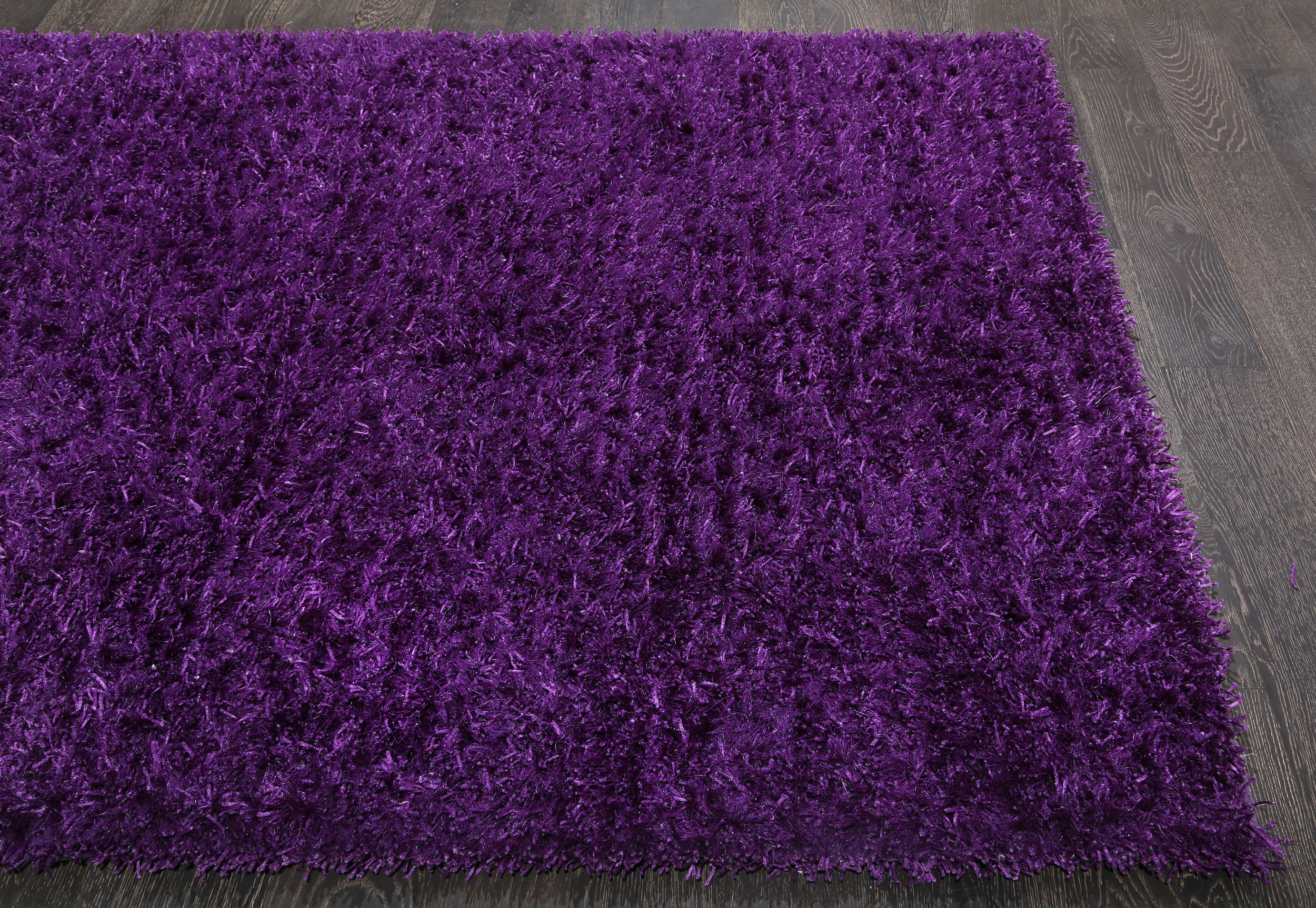 Rugsville Designer Silky Shaggy Purple Carpet 5 X 7