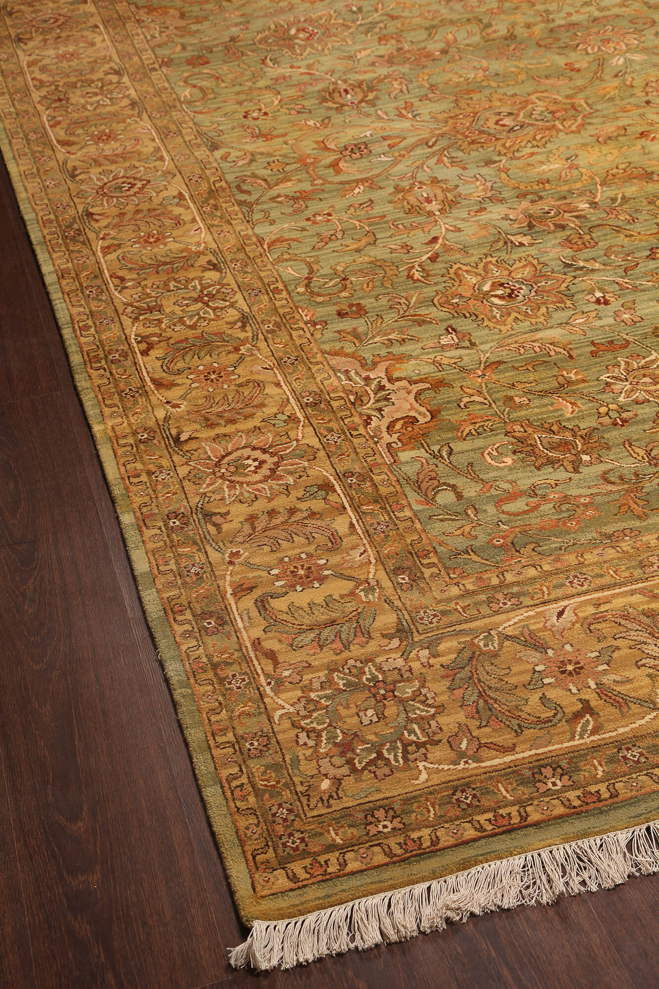 Rugsville Oushak Green & Light Gold Wool Carpet 9' x 12 ...