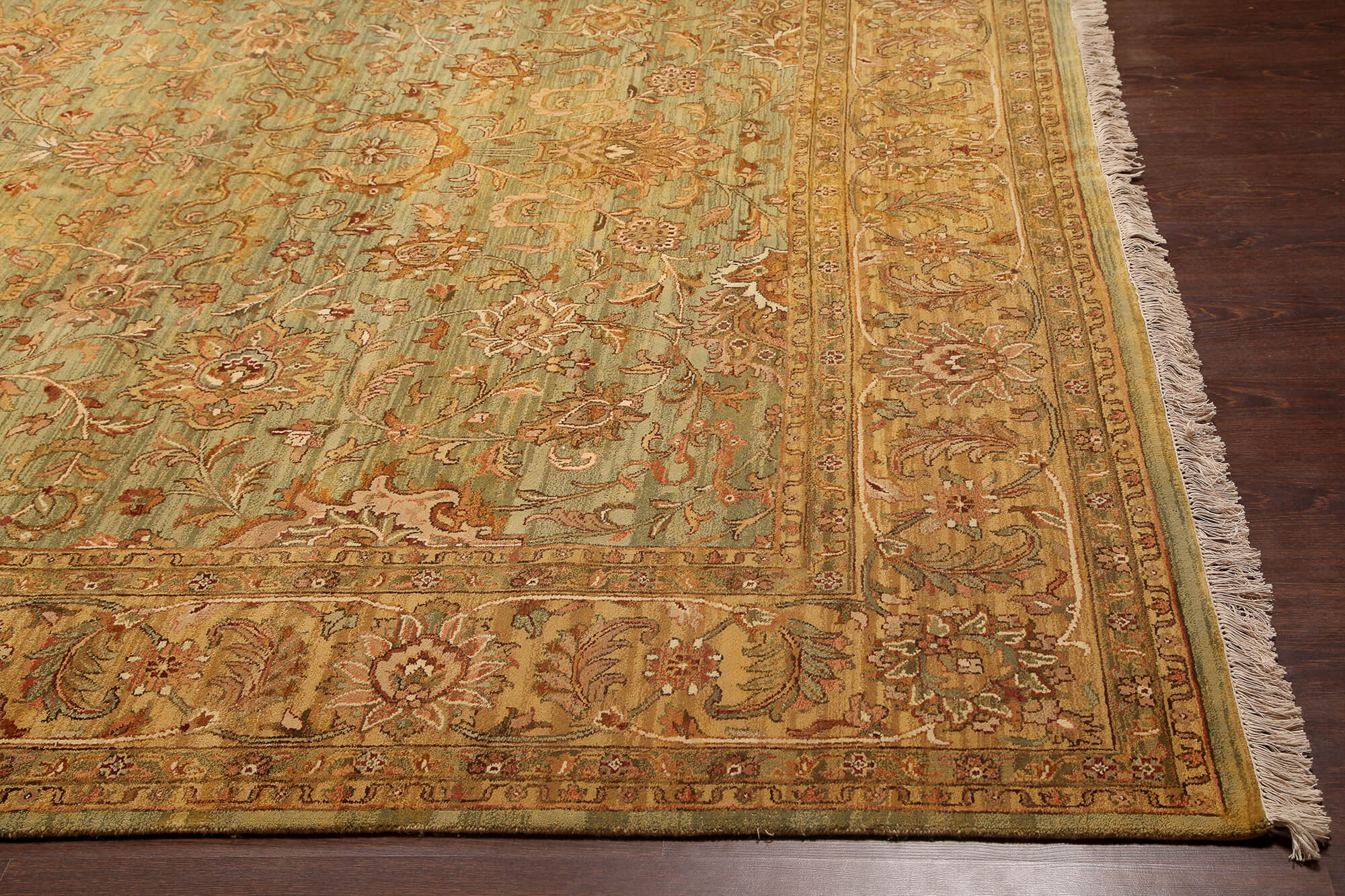 Rugsville Oushak Green Amp Light Gold Wool Carpet 9 X 12