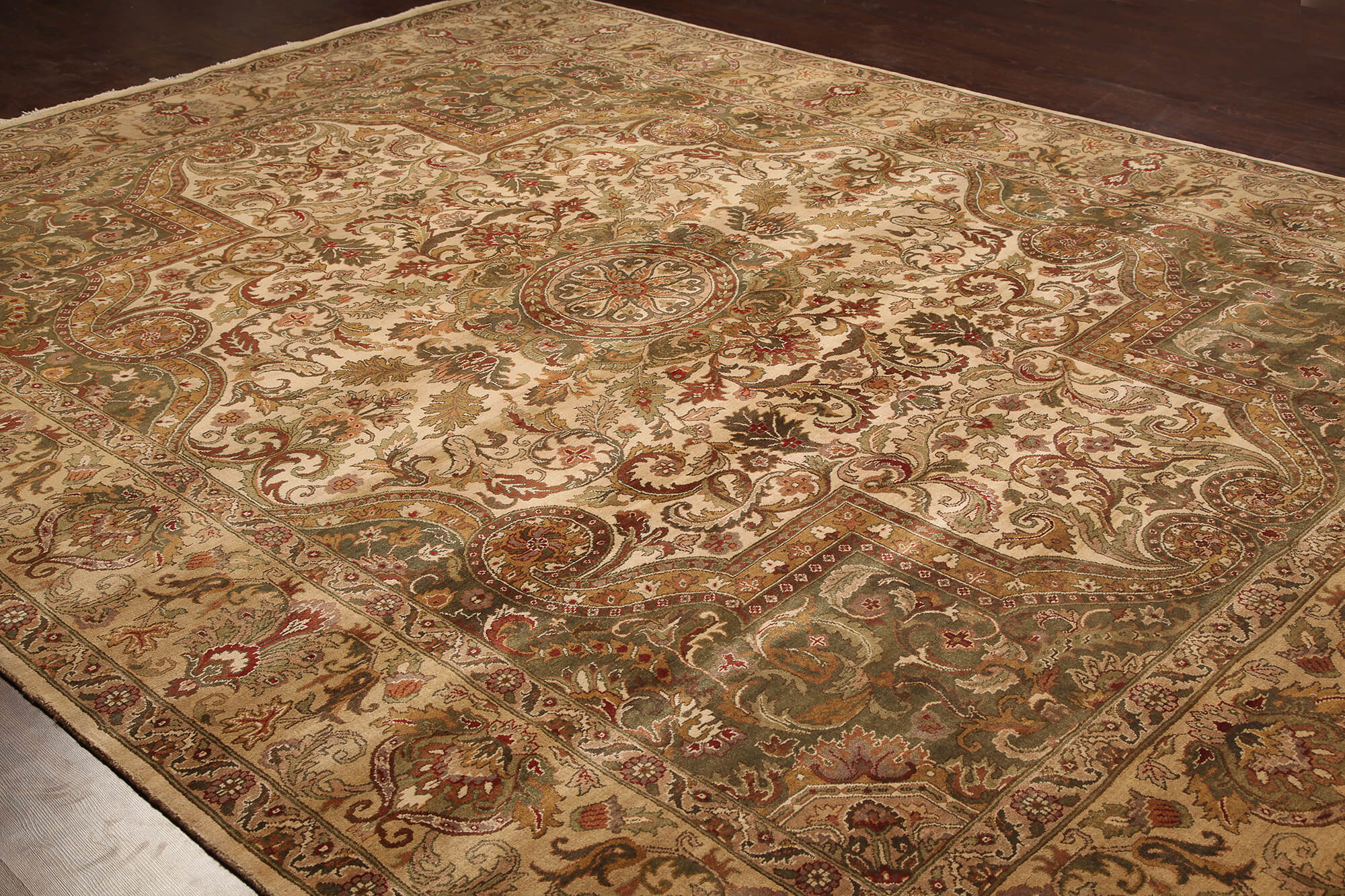 Rugsville Traditional Wool Ivory Amp Ivory Carpet 9 X 12