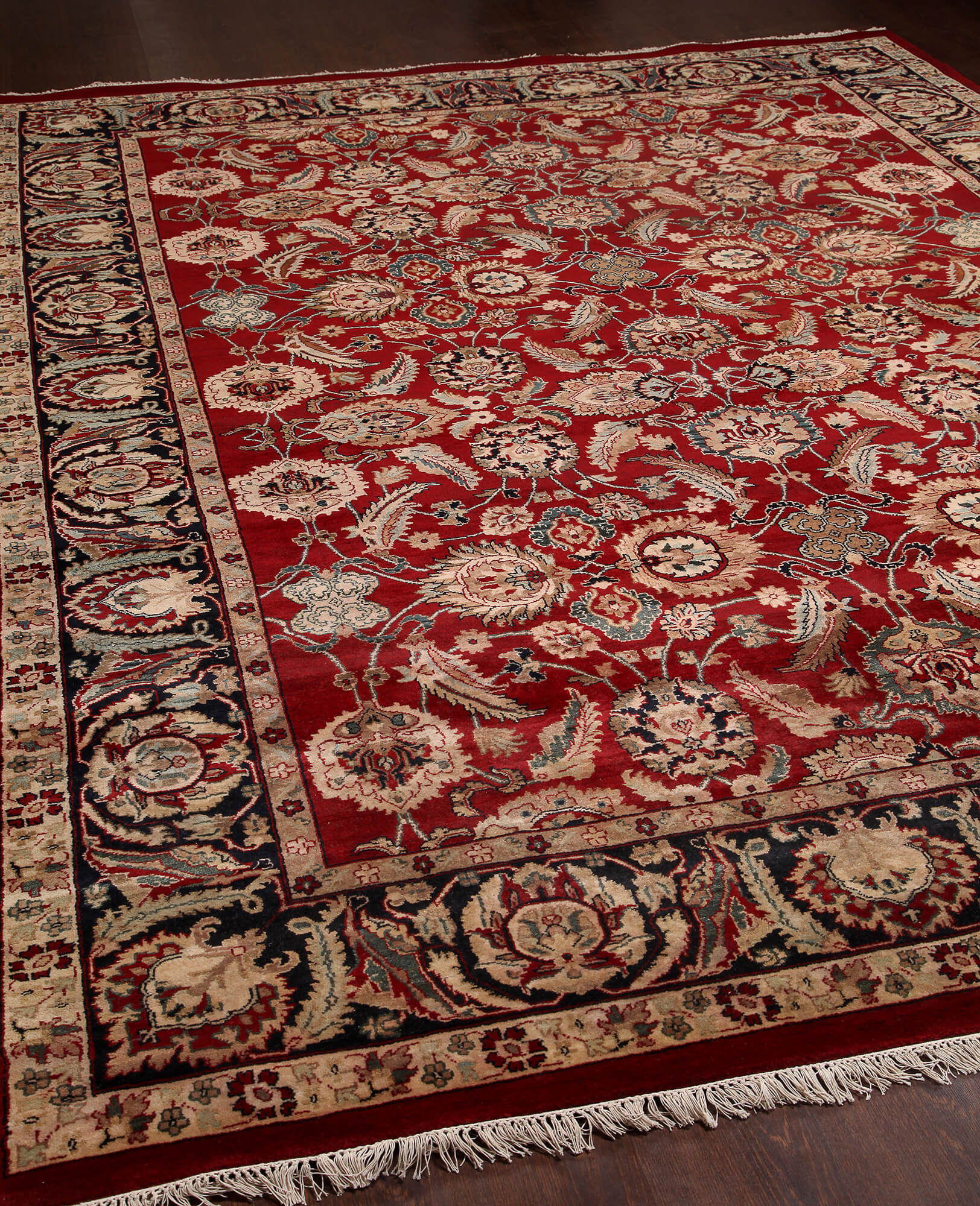 Rugsville Traditional Wool Red & Black Carpet 9' X 12