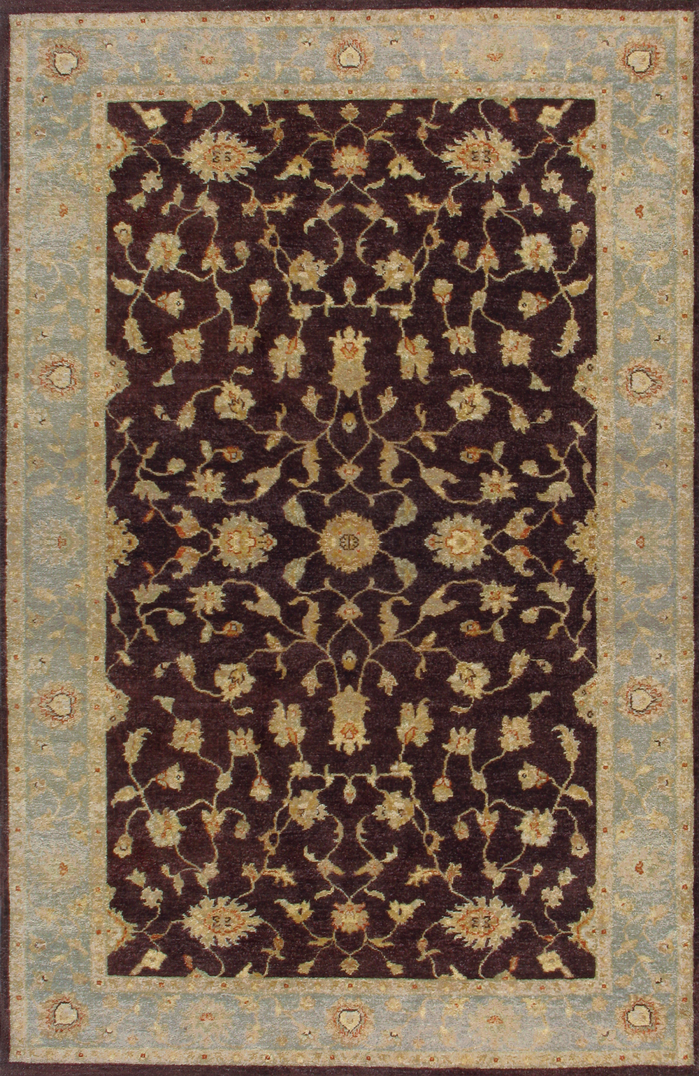 rugsville ziegler wool brown light blue 10271 5x8 rug